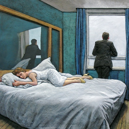 Hotel Room 2005 - Aluminium, oil paint 140 x 100 x 10cm